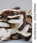 Small photo of black porcini (boletus aereus) aka bronze bolete or dark cep and Neoboletus luridiformis or Suillellus luridus (formerly Boletus luridus) aka lurid bolete mushrooms food