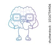 brain cartoon with glasses and... | Shutterstock .eps vector #1016754406