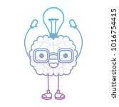 brain cartoon with glasses and... | Shutterstock .eps vector #1016754415