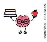 brain cartoon with glasses... | Shutterstock .eps vector #1016756422