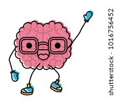brain cartoon with glasses and... | Shutterstock .eps vector #1016756452