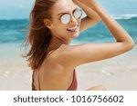 rear view of happy female in... | Shutterstock . vector #1016756602