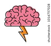 brain in side view with... | Shutterstock .eps vector #1016757028