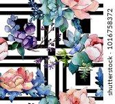 bouquet flower patterm in a... | Shutterstock . vector #1016758372