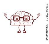 brain cartoon with glasses and... | Shutterstock .eps vector #1016760418