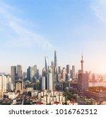 shanghai skyline and cityscape... | Shutterstock . vector #1016762512
