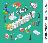 content is king flat isometric... | Shutterstock .eps vector #1016763652