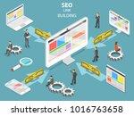 seo link building flat... | Shutterstock .eps vector #1016763658