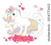 white unicorn with rainbow hair ... | Shutterstock .eps vector #1016772412