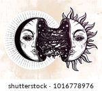 moon crescent turning into... | Shutterstock .eps vector #1016778976