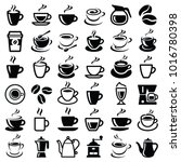 coffee icon collection   vector ... | Shutterstock .eps vector #1016780398