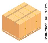 boxes on wooden pallet. ... | Shutterstock .eps vector #1016784196