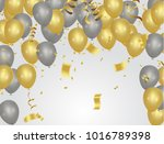 golden party balloons isolated... | Shutterstock .eps vector #1016789398