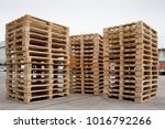 stacks of wooden pallets for... | Shutterstock . vector #1016792266