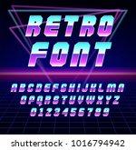 shiny chrome alphabet in 80s... | Shutterstock .eps vector #1016794942