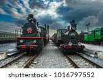 an old steam locomotive. two... | Shutterstock . vector #1016797552