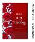 wedding invitation card... | Shutterstock .eps vector #1016800252