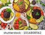 healthy food. black rice ...