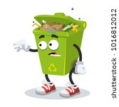 cartoon scared trash can mascot ... | Shutterstock .eps vector #1016812012
