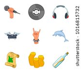 rock show icons set. cartoon... | Shutterstock .eps vector #1016815732