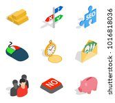 monetary wealth icons set.... | Shutterstock .eps vector #1016818036