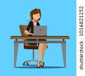 young businesswomen suffering...   Shutterstock .eps vector #1016821252