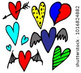 hand drawn hearts on a white... | Shutterstock .eps vector #1016824882