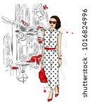beautiful girl in a stylish... | Shutterstock .eps vector #1016824996