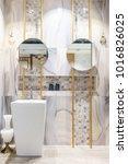 interior of bathroom with sink... | Shutterstock . vector #1016826025