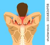 young man with painful neck and ... | Shutterstock .eps vector #1016826958