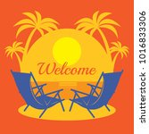 beach vacation poster or banner ... | Shutterstock .eps vector #1016833306