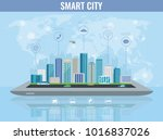 smart city on a digital touch... | Shutterstock .eps vector #1016837026
