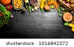 organic food. fresh harvest of... | Shutterstock . vector #1016842372