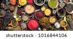 various fragrant spices and... | Shutterstock . vector #1016844106