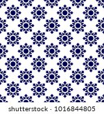 floral thai pattern blue and... | Shutterstock .eps vector #1016844805