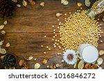 top view of soy milk in glass... | Shutterstock . vector #1016846272