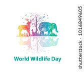 world wildlife day | Shutterstock .eps vector #1016849605