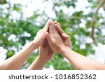 four hand up of people working... | Shutterstock . vector #1016852362
