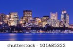 Skyline of landmark high rises in Back Bay, Boston, Massachusetts - stock photo