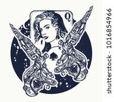 girl and crossed tattoo machine.... | Shutterstock .eps vector #1016854966