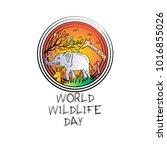world wildlife day | Shutterstock .eps vector #1016855026