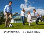 family with children playing... | Shutterstock . vector #1016864032