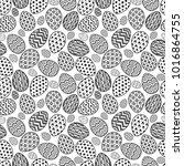 happy easter eggs pattern black ... | Shutterstock .eps vector #1016864755
