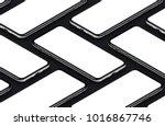 isometric smartphones mockup on ... | Shutterstock . vector #1016867746