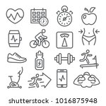fitness and gym line icons set... | Shutterstock .eps vector #1016875948