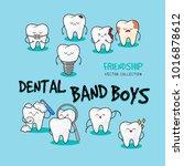 happy teeth funny card. cute... | Shutterstock .eps vector #1016878612