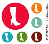woman boots icons circle set... | Shutterstock .eps vector #1016892022