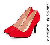 pair of red shoes on high heels ... | Shutterstock .eps vector #1016892856