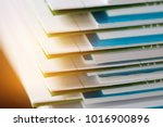 stack of report paper documents ... | Shutterstock . vector #1016900896