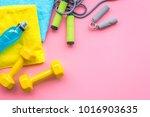 fitness background. equipment...   Shutterstock . vector #1016903635